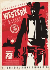 Retro western movie poster with gunman ready to pull the pistol in a duel. Cowboy drawing vintage cinema promo ad. Vector film flyer.