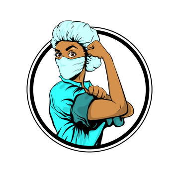 We Can Do It woman african doctor in medical mask retro poster. Cartoon vintage nurse girl in pop art style. Black pop art doctor isolated in white background. Emblem.