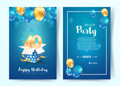 Celebration of 40 th years birthday vector invitation card. Forty years anniversary celebration brochure. Template of invitational for print on blue background