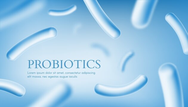 Probiotics culture, intestinal microbiota health banner. Human healthy intestinal microbiota, bifidobacterium colony, gut microbiom and microflora bacterium vector. Immunity and indigestion health