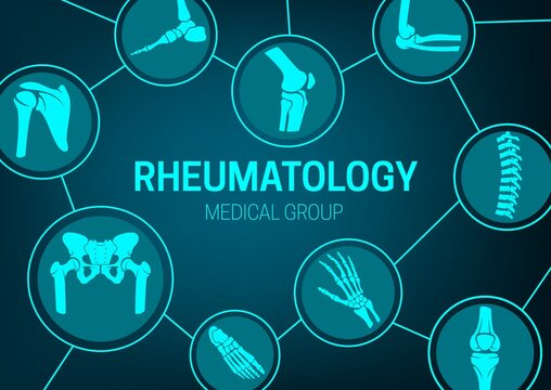 Rheumatology medicine, joint diseases treatment and x-ray banner. Human body skeleton parts, limbs and spine bones, pelvis and hip socket, foot, wrist and elbow, knee and shoulder joint vector