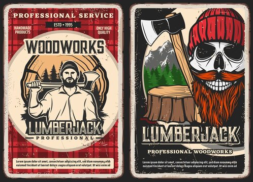 Lumberjack service, woodwork vintage posters. Strong man in shirt, holding felling axe, lumberjack smiling skull with red beard and mustaches wearing knitted hat, tree stump and mountain forest vector