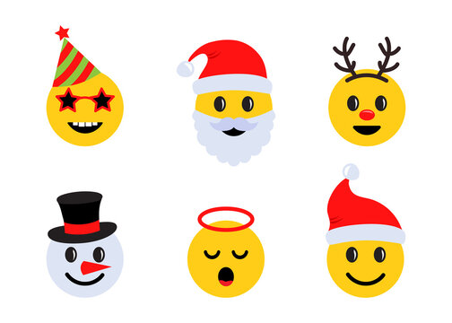Christmas emoticons, holiday smile face icons with different emotions. Vector