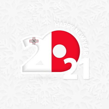 Happy New Year 2021 for Malta on snowflake background.