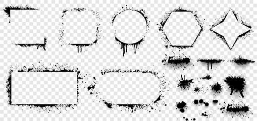 Estores personalizados con motivos artísticos con tu foto Grunge stencil frames. Set of hand drawn spray paint frames and text banners. Brush splash abstract rectangular stencil border. Isolated vector icons set
