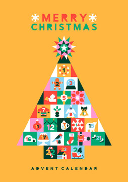 Christmas folk pine tree icon advent calendar