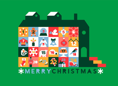 Merry Christmas retro advent calendar house icon