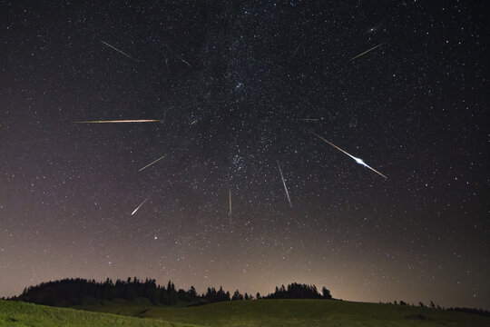 Perseid meteor shower with farm building