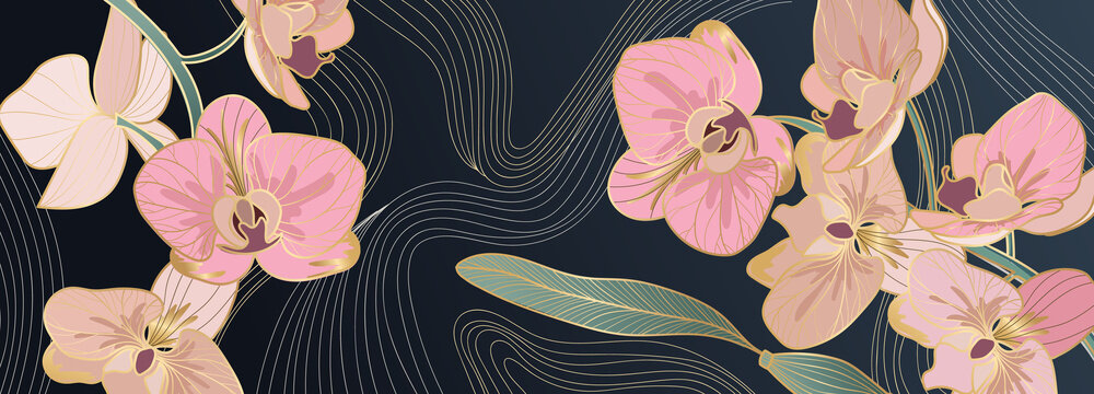 Luxury pink orchid background vector with golden metallic decorate wall art