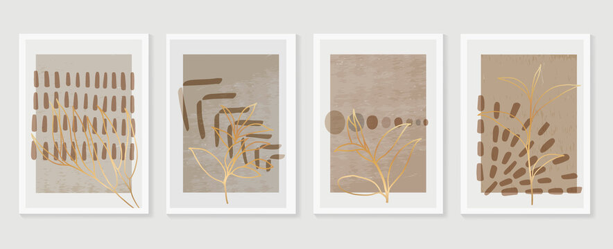 Botanical and golden line wall art vector set. Earth tone boho foliage line art drawing with  abstract shape.  Abstract Plant Art design for print, cover, wallpaper, Natural wall art..