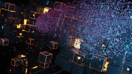 Wall Mural - Brain assembling of blocks. Artificial intelligence concept. 3D animation