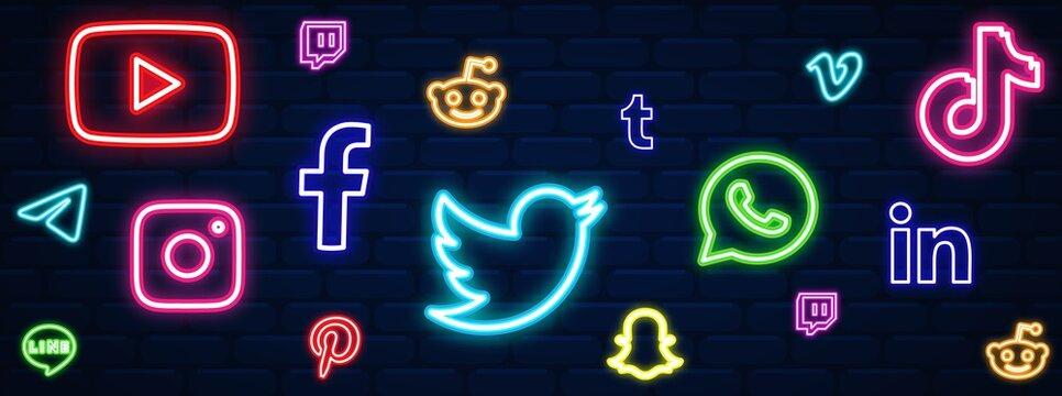 Social media facebook, twitter, instagram, youtube, reddit,telegram,snapchat, pinterest, tiktok logo. Social media background. Social media vector set. Social media icon neon