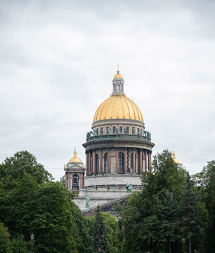 Saint-Petersburg, Russia. Saint Isaac's Cathedral on background of cloudy sky in summer season.