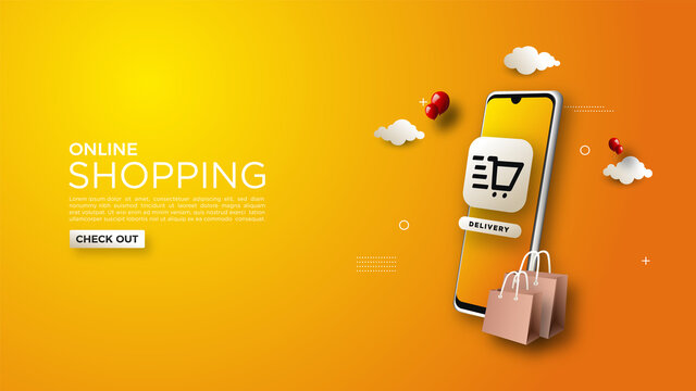 Online shopping background, with illustrations of mobile phones and simple shopping bags.