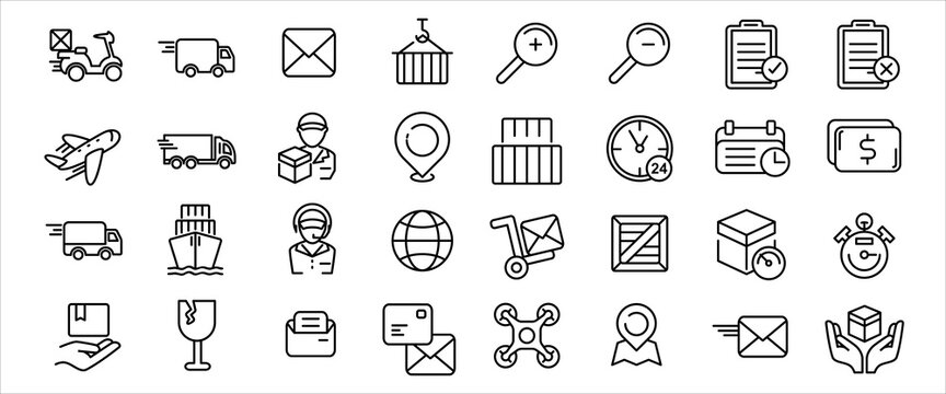 Simple Set of delivery, courier and shipping Related Vector icon graphic design. Contains such Icons as shipping, mail, post, courier, motorcycle delivery, drone and customer service