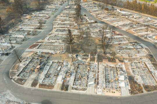 Aerial view of burned down houses from the 2020 Almeda wildfire in Southern Oregon, USA