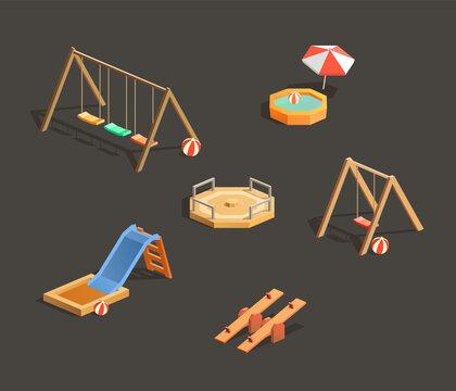 Set of children playgrounds