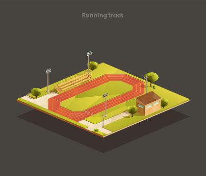Running track isometric illustration