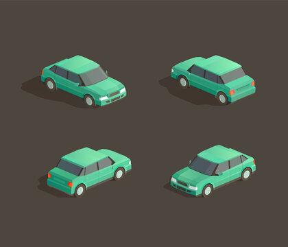 Isometric green sedan