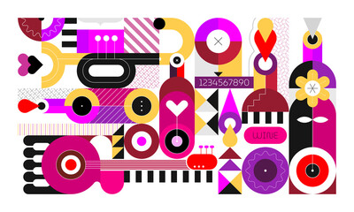 Flat design of wine bottles and music instruments isolated on a white background. Geometric style vector illustration.