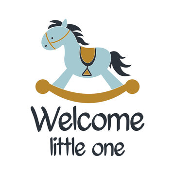 Welcome little one positive slogan inscription. Baby boy postcard, banner lettering. Kids illustration for prints on t-shirts and bags, posters, cards. Motivational phrase. Vector quotes.