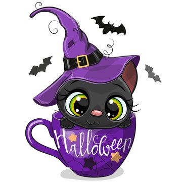 Kitten in a witch hat is sitting in a Cup of coffee