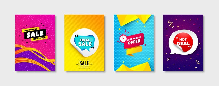 Final sale, Last minute offer and Hot deal set. Sticker template layout. Final discount sign. Sale offer, discount sticker, save 50 percent banner. Promotional tag set. Speech bubble banner. Vector