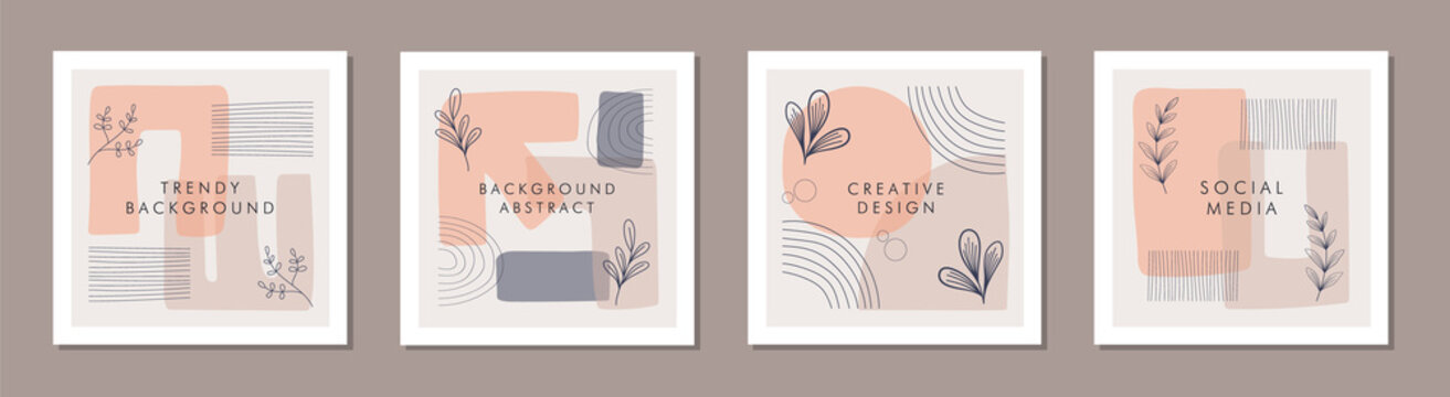 Abstract trendy colorful organic shapes and lines with floral square frame template concepts.