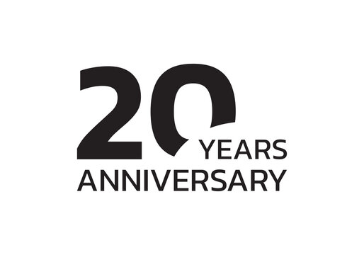 20th anniversary logo. 20 years celebrating icon or badge. Vector illustration.
