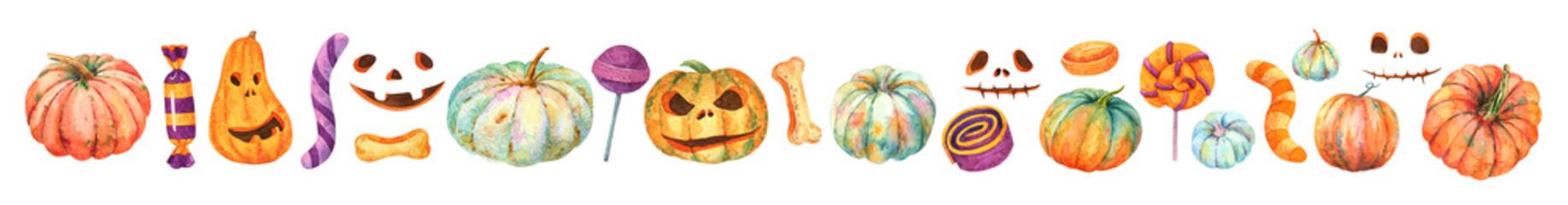 Watercolor Halloween. Jack-O-Lantern set.  Sweet striped candy, lollipop, purple sweets, gummy worm. Orange turquoise pumpkin.