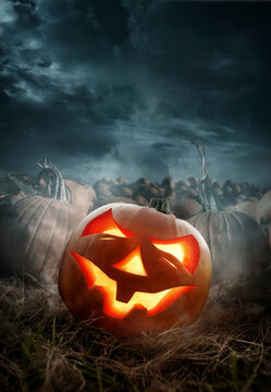 Halloween pumpkin field with a glowing carved pumpkin Jack O lantern at night. Photo composite.