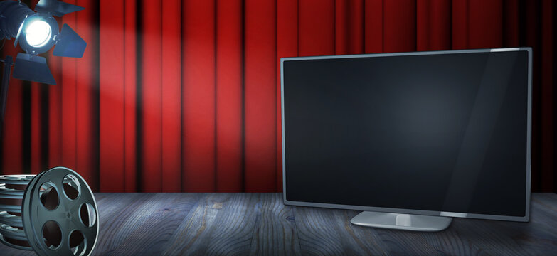 Video on demand advertising template with an empty TV, film reels and spotlight. A movies concept with copy space to add your own titles (3D illustration)