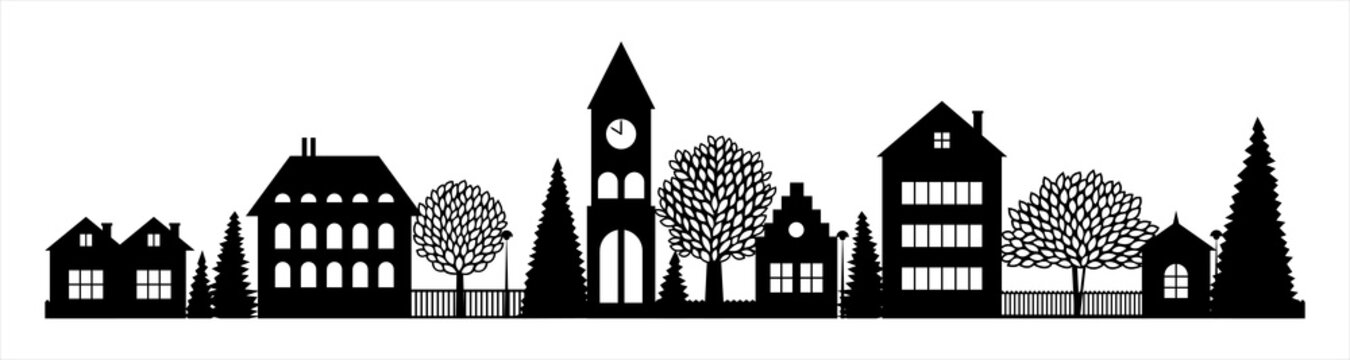 Small Town silhouette cutout skyline with chapel houses trees black and white