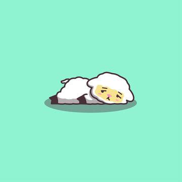 Cute Kawaii Hand Drawn Doodle Bored Lazy Sheep