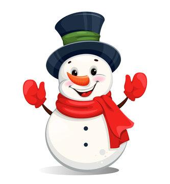 Cute cheerful Christmas snowman cartoon character