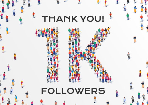 1K Followers. Group of business people are gathered together in the shape of 1000 word, for web page, banner, presentation, social media, Crowd of little people. Teamwork. Vector illustration