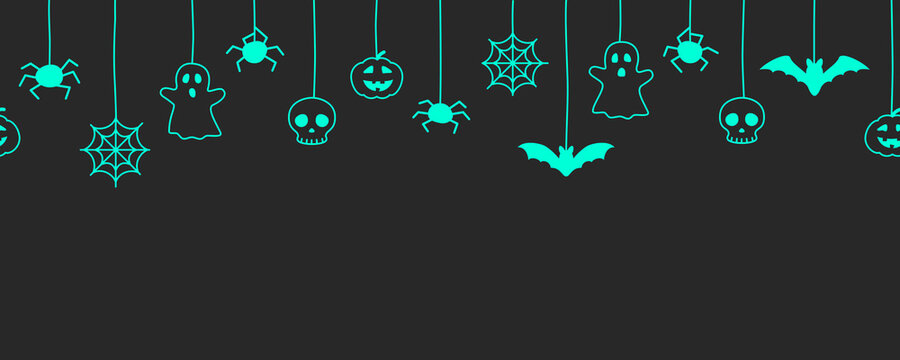 Happy Halloween seamless banner or border with bats, spider web, ghost  and pumpkins. Vector illustration party invitation black background