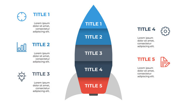 infographic element layout template with rocket concept design, 5 points, options. processes, idea, list, diagram, chart.
