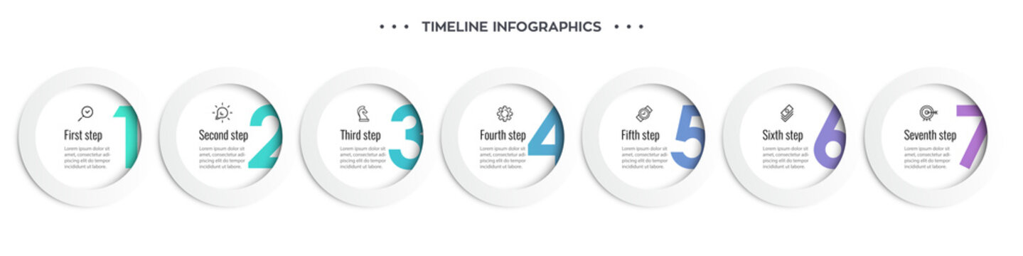 Vector Infographic design template with icons and 7 options or steps. Can be used for process diagram, presentations, workflow layout, banner, flow chart, info graph.
