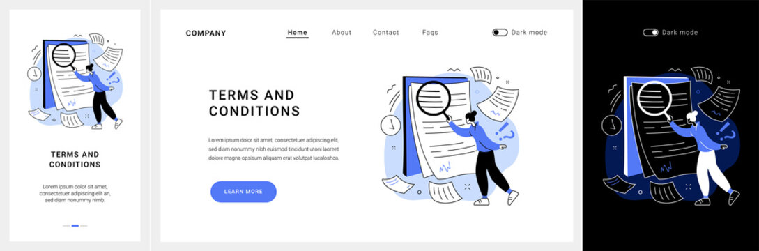Terms and conditions website UI kit. Legal notice, user terms and conditions, website menu bar, web element, information page, registration process, accept landing and mobile app vector UI template.