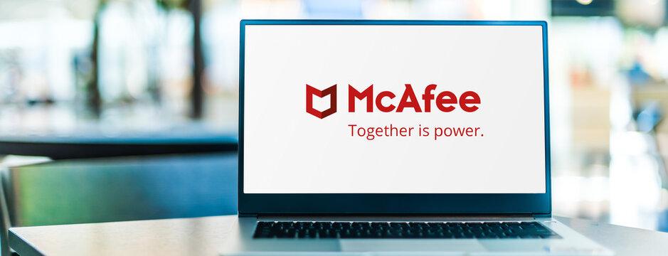 Laptop computer displaying logo of McAfee