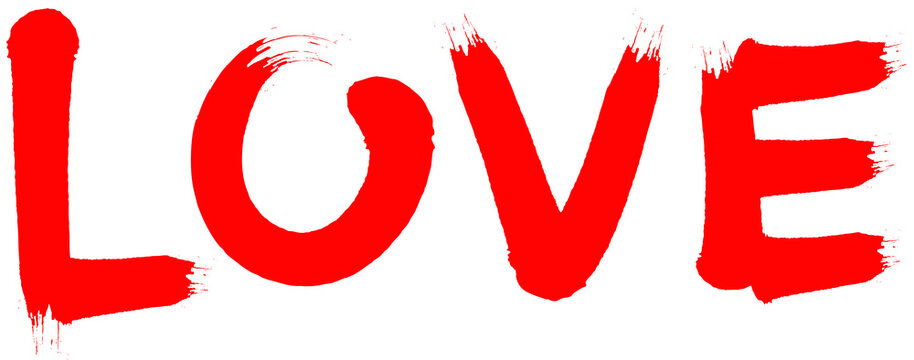 Hand dawn word love in red. Airbrush or brush font as vector typography.