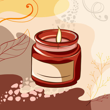 Illustration of a burning candle in a jar on abstract floral background with spirit way. Digital romantic drawing good for card, wallpaper, print, banner, postmark.