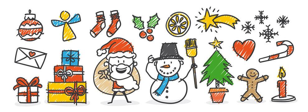 Strichfiguren / Strichmännchen: Weihnachtsschmuck, Weihnachtsmann, Schneemann, Dekoration. (Nr. 560)