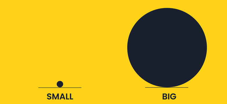 Big and small circle are antonyms. Yellow and black vector banner