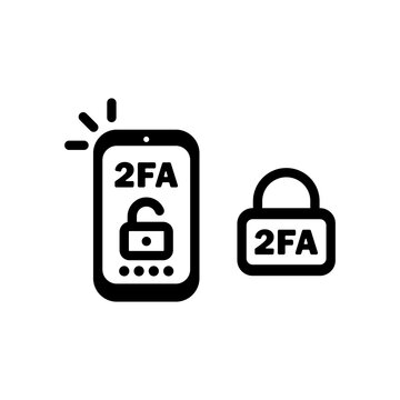 2FA line icon in black. Two factor authentication icon. Security. Vector on isolated white background. EPS 10