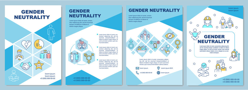 Gender neutrality brochure template. Social equality and inclusivity. Flyer, booklet, leaflet print, cover design with linear icons. Vector layouts for magazines, annual reports, advertising posters
