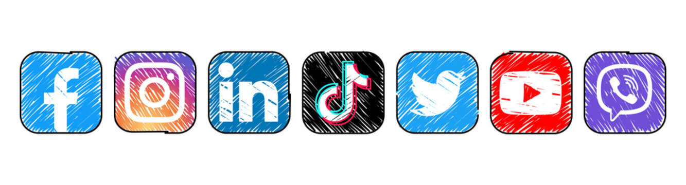 Set of popular Social Media and Mobile Apps icons in marker hand drawn design