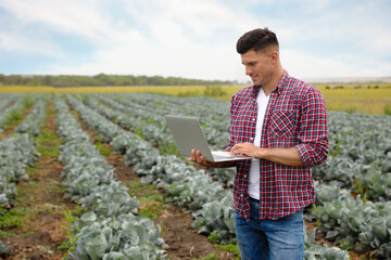 Man using laptop in field. Agriculture technology