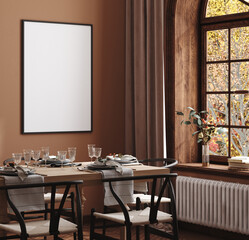 Wall Murals Height scale Mock up frame in cozy modern dining room interior, 3d render